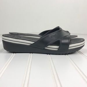 Crocs Women's Slide on Wedge Sandal B&W Sz 9